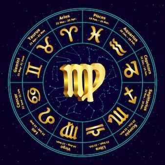Złoty znak zodiaku panna w okręgu