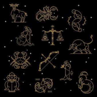 Złoty znak zodiaku ustawiony na czarnym tle