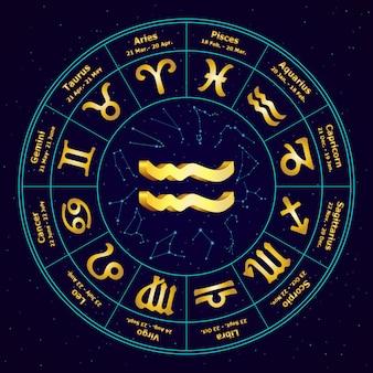 Złoty znak zodiaku wodnik w okręgu