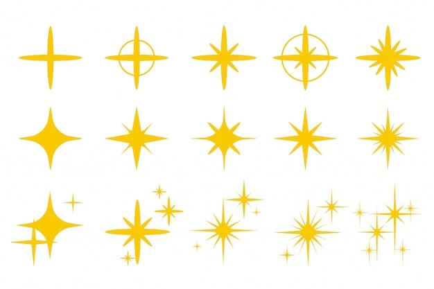 Złoty żółty iskrzący połysk. błyszczący złoty efekt błysku izolat