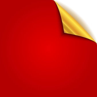 Złoty zwinięty róg papieru. czerwona strona ze złotą stroną tylną