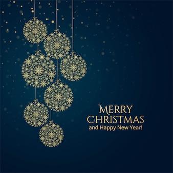 Złotych snoflakes świętowania dekoracyjny balowy tło