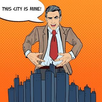 Złowieszczy biznesmen pop-artu chce przejąć miasto.