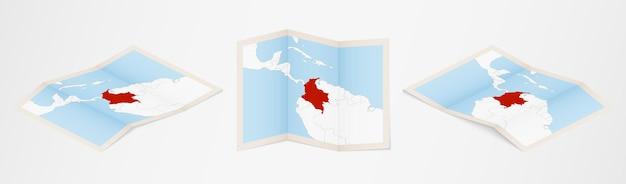 Złożona mapa kolumbii w trzech różnych wersjach.