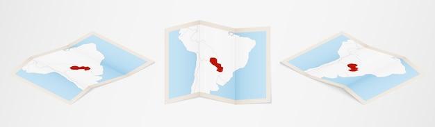 Złożona mapa paragwaju w trzech różnych wersjach.