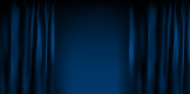 Złożona realistyczna kolorowa niebieska aksamitna zasłona. opcja zasłony w domu w kinie.