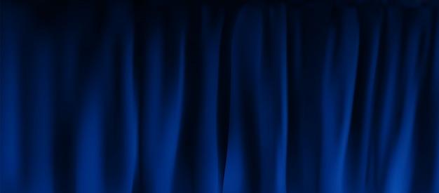 Złożona realistyczna kolorowa zasłona z aksamitu w kolorze niebieskim. opcja zasłony w domu w kinie