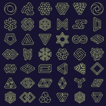 Złudzenie optyczne niemożliwe kształty geometryczne kwadratowe i trójkątne figury paradoksu wektor zestaw