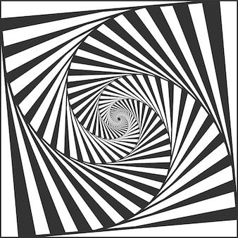 Złudzenie optyczne spirali. naprzemienne czarno-białe paski tworzące hipnotyczny efekt, geometryczne zawroty głowy i obracające się paski. abstrakcyjne krzywe z oszukańczą ilustracją wektora ruchu