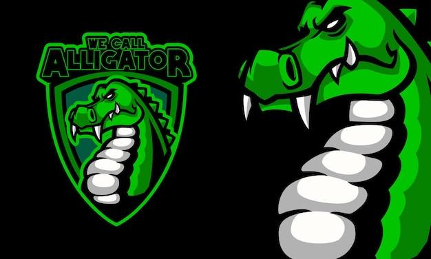 Zły aligator sport logo maskotka ilustracja wektorowa