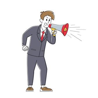 Zły biznesmen krzyczy do megafonu. zirytowany mężczyzna krzyczy do głośnika. szef pośpiesz pracowników w terminach, propagandzie, awansach