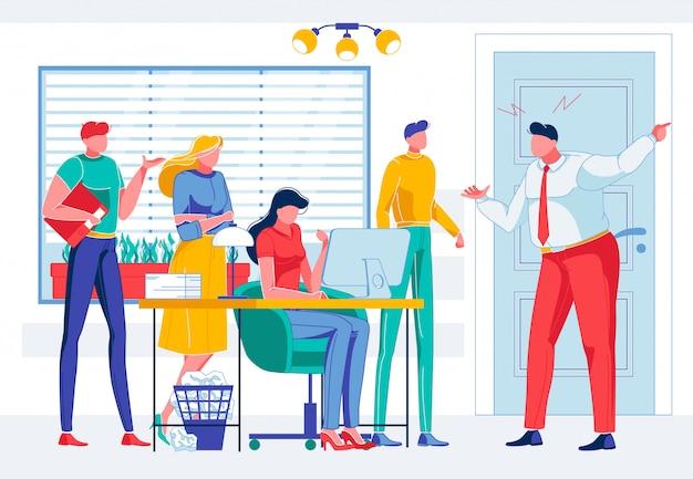 Zły biznesmen krzyczy na pracowników w biurze