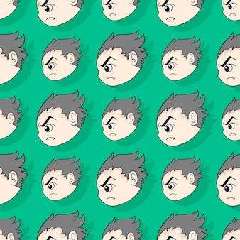 Zły chłopiec twarz bezszwowe powtórzyć wzór. tło wektor ilustracja.