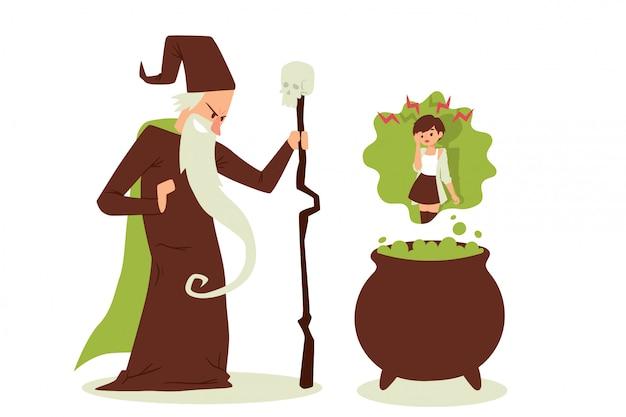 Zły czarodziej rzucił czar na kobietę, stary czarodziej z brodą i laską,