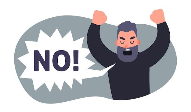 Zły człowiek krzyczy bez kartonu ludzie protestują przeciwko koncepcji nie zgadzają się osoby negatywne emocje