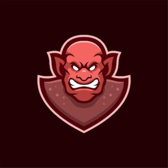 Zły diabeł głowa ilustracja kreskówka logo szablon. gry z logo e-sportu premium wektor