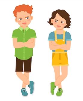 Zły dzieci ze skrzyżowanymi rękami na białym tle. marszczyć brwi smutnej chłopiec i twardej dziewczyny wektoru ilustraci