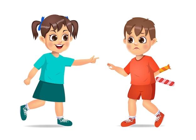 Zły dzieciak drażni się ze swoją przyjaciółką, żeby wziąć cukierki. na białym tle