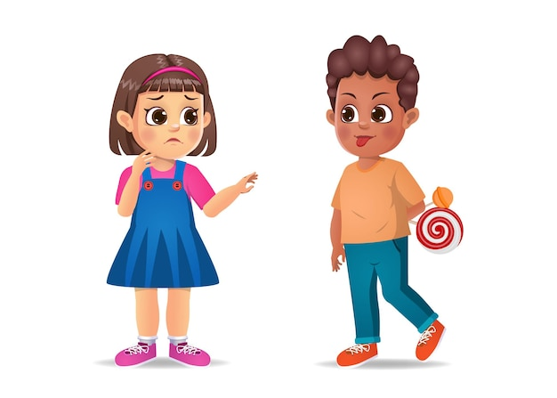 Zły dzieciak pokazuje przyjacielowi swoją wykrzywioną twarz. na białym tle