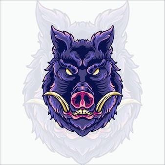 Zły dziki ilustracja głowa dzika