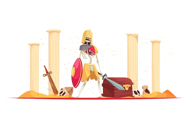 Zły dziki wojownik w hełmie przynoszący śmierć zniszczenia mieczem tarczowym wśród ruin kompozycji rysunkowej