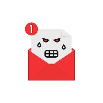 Zły emoji w powiadomieniu listowym. pojęcie biuletynu, spamu, negatywnej wiadomości e-mail, nastroju, komunikacji, obrazy, kłótni, wściekłości. płaski trend w stylu nowoczesny projekt graficzny logo na białym tle