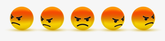 Zły emotikon lub gderliwy emoji - emotikon, zły, dąsający się, zrzędliwy, szalony czerwony emoji dla mediów społecznościowych