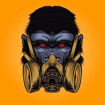 Zły głowa goryla z ilustracją maski gazowej