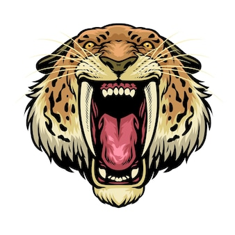 Zły głowa lwa szablozębnego
