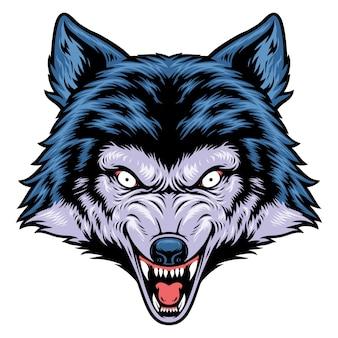 Zły głowa wilka ilustracji