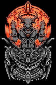 Zły i płonący król byk ilustracja