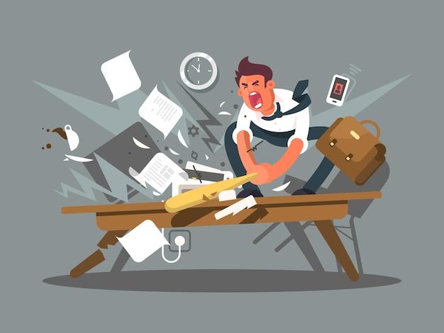 Zły i zirytowany pracownik. pracownik biurowy rozbija nietoperza stołowego. ilustracja wektorowa