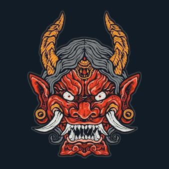 Zły japoński demon twarz
