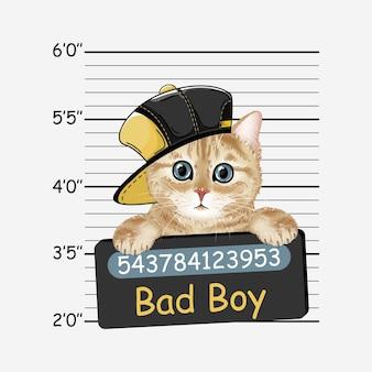 Zły kot chłopiec. koteczek. kolorowy realistyczny portret kota.