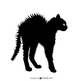 Zły kot sylwetka wektor