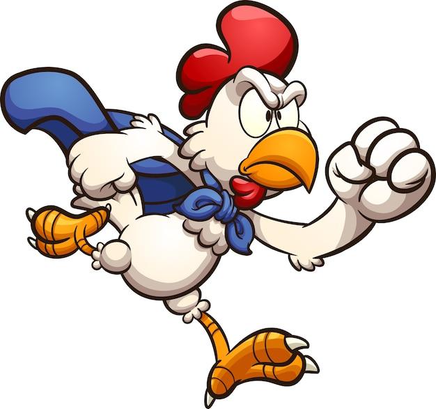 Zły kreskówka działa super kurczaka. clipartów ilustracja.