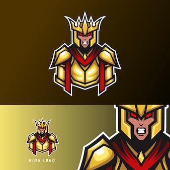Zły król sport esport logo szablon złoty mundur wojenny