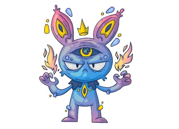 Zły królik z ognistymi rękami. ilustracja kreatywnych kreskówek.