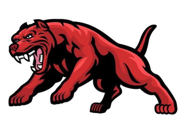 Zły ładujący pies pitbulla