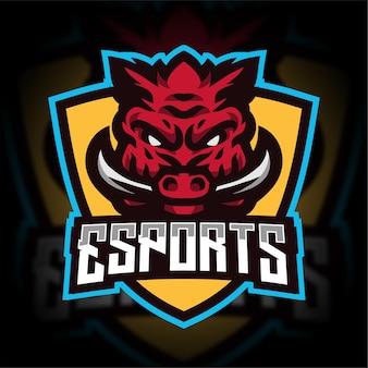 Zły logo gier e-sportowych z dzika