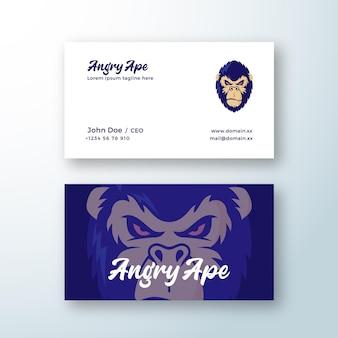 Zły małpa streszczenie logo logo i szablon wizytówki. symbol twarzy małpy. sylwetka głowy goryla.