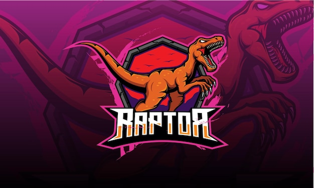 Zły maskotka z logo velociraptor, dinozaur. logo raptor esport