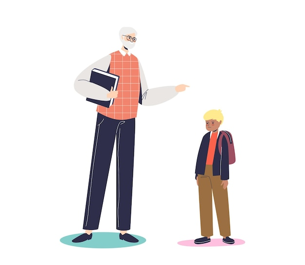 Zły nauczyciel zbeształ małego ucznia. dorosły mężczyzna krzyczy na smutnego chłopca w szkole. surowy profesor i wstrętny uczeń. płaskie ilustracja kreskówka