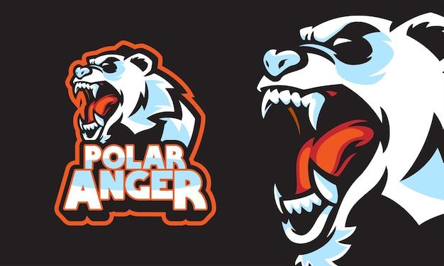 Zły niedźwiedź polarny sport logo maskotka ilustracja wektorowa