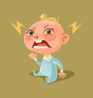 Zły, nieszczęśliwy, niegrzeczny mały charakter dziecka krzyczy i płacze.