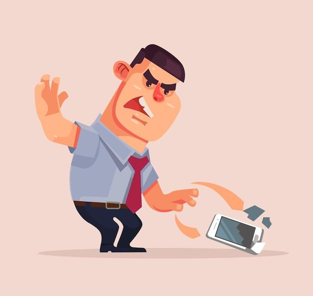 Zły niezadowolony biznesmen postać rzuca telefon komórkowy i rozbija go. ilustracja kreskówka płaska