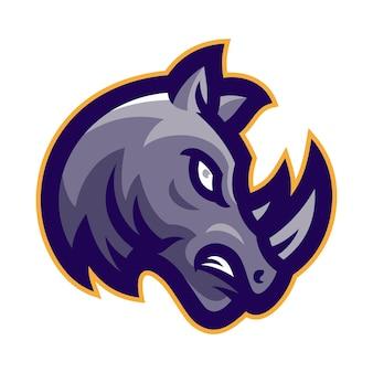 Zły nosorożec głowa maskotka logo wektor