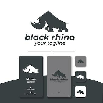 Zły nosorożec logo projekt wektor płaskie proste