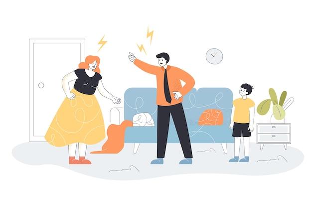 Zły ojciec i matka kłócą się przed płaczącym synem. żona i mąż krzyczą w domu płaska ilustracja