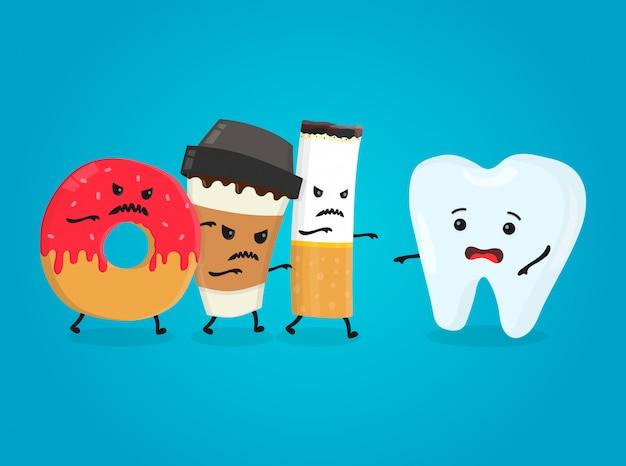 Zły pączek, papierowy kubek kawy i papieros zabijają zdrowy ząb. koszmar zdrowia białe zęby. ilustracja kreskówka na białym tle płaski